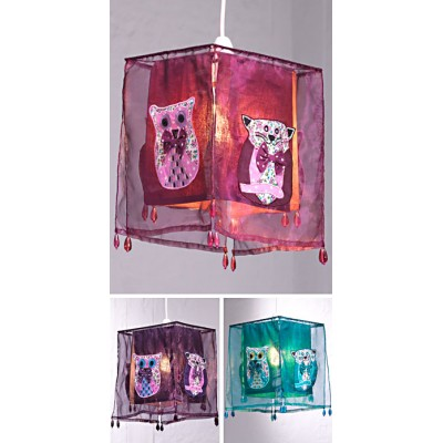 Cat/Owl lampshade with beads (Mauve)