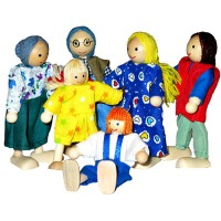 Family of 6 Wooden dolls
